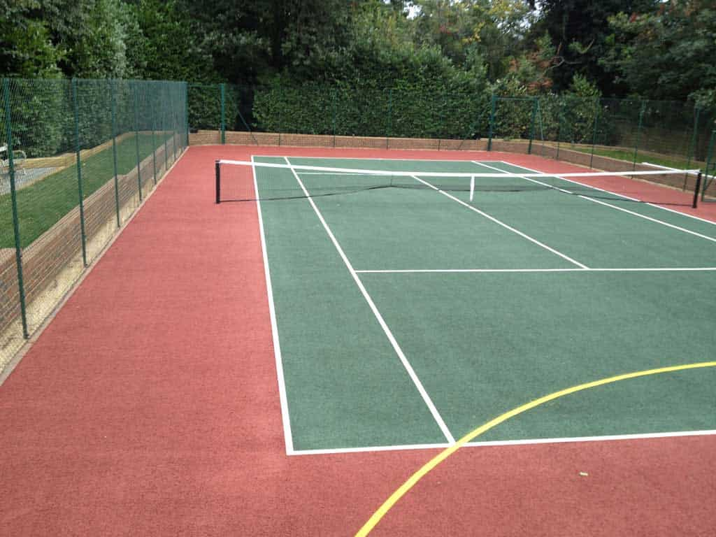 A painted tennis court